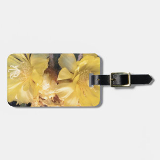 Yellow cactus flower luggage tag