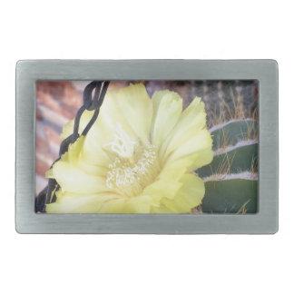 Yellow cactus flower rectangular belt buckles