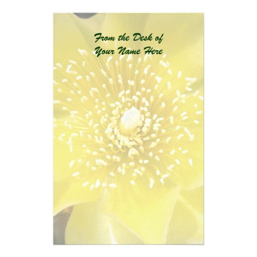 Yellow Cactus Flower Stationery Paper