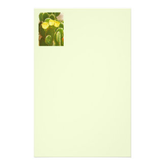 YELLOW CACTUS FLOWERS STATIONERY PAPER