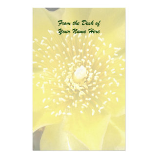 Yellow Cactus Prickly Pear Flower Customized Stationery