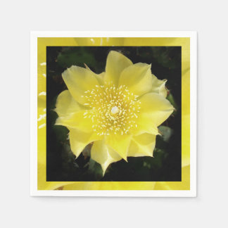 Yellow Cactus Prickly Pear Flower Paper Napkins