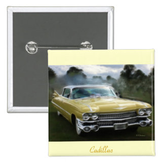 Yellow Cadillac 2 Inch Square Button