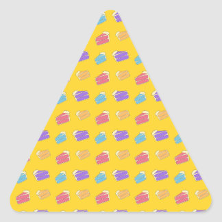 Yellow cake pattern triangle sticker
