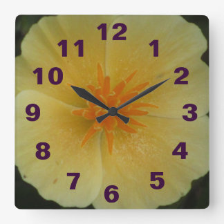 Yellow California Flower Square Wall Clock