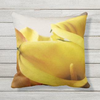 Yellow calla lilies outdoor pillow