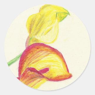 Yellow Calla Lilies Round Sticker