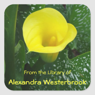 Yellow Calla Personalized Bookplate Square Sticker