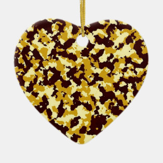 Yellow Camouflage Ceramic Heart Ornament