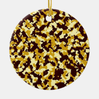 Yellow Camouflage Round Ceramic Ornament