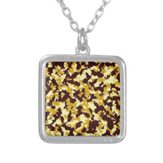 Yellow Camouflage Silver Plated Necklace