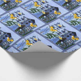 Yellow Canary and Larkspur Garden with Birdhouse Wrapping Paper