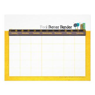 Yellow Cance Feel Better Binder Calendar Flyer