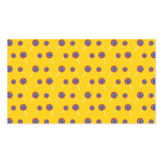 yellow candy pattern business card