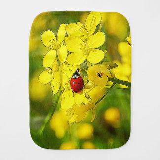 Yellow Canola Flower Good Luck Red Ladybug Baby Burp Cloths