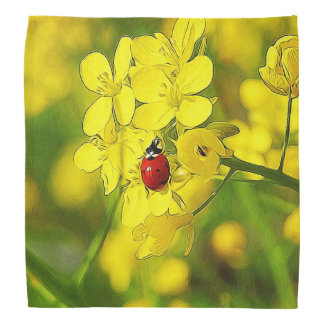 Yellow Canola Flower Good Luck Red Ladybug Bandana