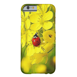 Yellow Canola Flower Good Luck Red Ladybug Barely There iPhone 6 Case