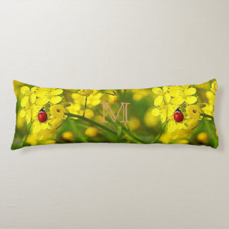 Yellow Canola Flower Good Luck Red Ladybug Body Pillow