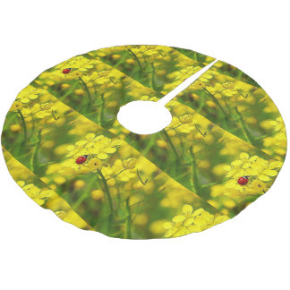 Yellow Canola Flower Good Luck Red Ladybug Brushed Polyester Tree Skirt