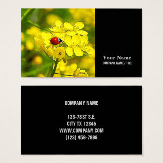 Yellow Canola Flower Good Luck Red Ladybug Business Card