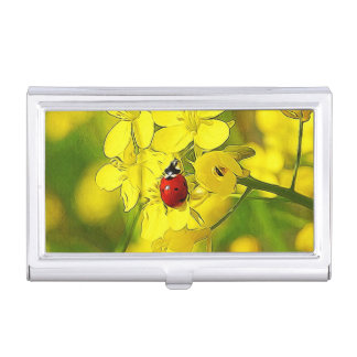Yellow Canola Flower Good Luck Red Ladybug Business Card Holder