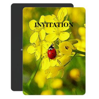 Yellow Canola Flower Good Luck Red Ladybug Card
