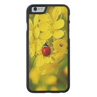 Yellow Canola Flower Good Luck Red Ladybug Carved Maple iPhone 6 Case