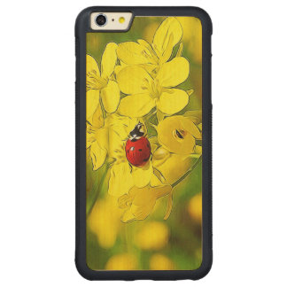 Yellow Canola Flower Good Luck Red Ladybug Carved Maple iPhone 6 Plus Bumper Case