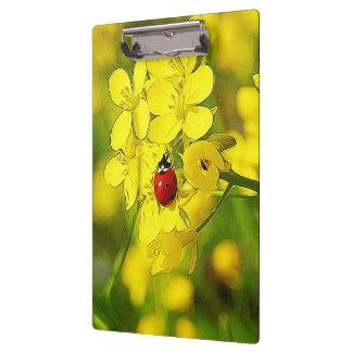 Yellow Canola Flower Good Luck Red Ladybug Clipboard