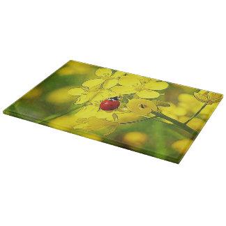 Yellow Canola Flower Good Luck Red Ladybug Cutting Board