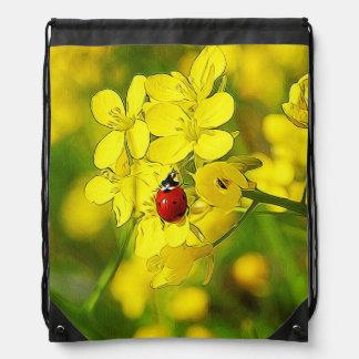 Yellow Canola Flower Good Luck Red Ladybug Drawstring Bag