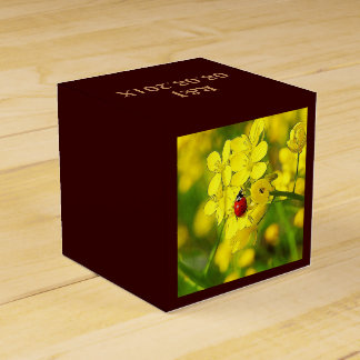 Yellow Canola Flower Good Luck Red Ladybug Favor Box