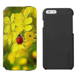 Yellow Canola Flower Good Luck Red Ladybug Incipio Watson™ iPhone 6 Wallet Case