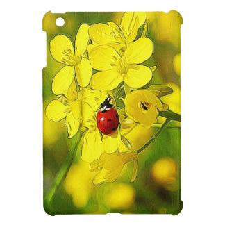 Yellow Canola Flower Good Luck Red Ladybug iPad Mini Covers