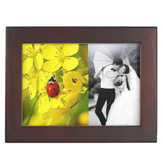 Yellow Canola Flower Good Luck Red Ladybug Keepsake Box
