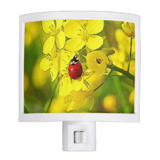 Yellow Canola Flower Good Luck Red Ladybug Night Lite