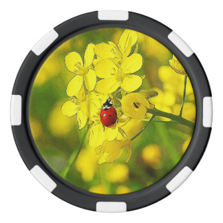 Yellow Canola Flower Good Luck Red Ladybug Poker Chips