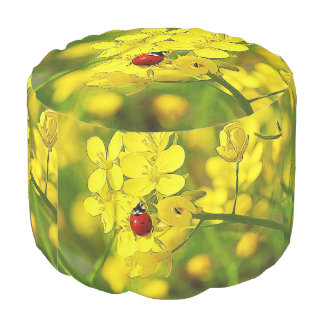 Yellow Canola Flower Good Luck Red Ladybug Pouf