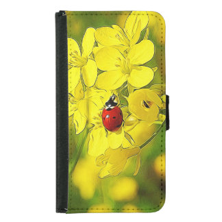 Yellow Canola Flower Good Luck Red Ladybug Samsung Galaxy S5 Wallet Case