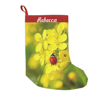 Yellow Canola Flower Good Luck Red Ladybug Small Christmas Stocking