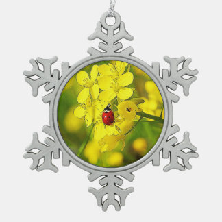 Yellow Canola Flower Good Luck Red Ladybug Snowflake Pewter Christmas Ornament