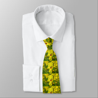 Yellow Canola Flower Good Luck Red Ladybug Tie