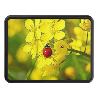 Yellow Canola Flower Good Luck Red Ladybug Trailer Hitch Cover