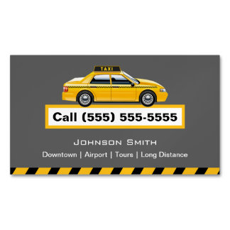 Yellow Cap Taxi Driver Chauffeur Magnetic Business Card