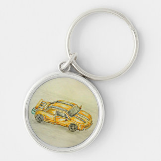 Yellow car Silver-Colored round keychain
