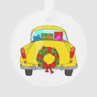 Yellow car with Christmas wreath
