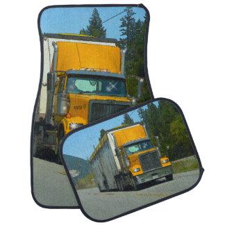 Yellow Cargo Truck, Freight Lorry Trucker Art Car Mat