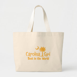 Yellow Carolina Girl Best in the World Large Tote Bag