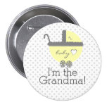 Yellow Carriage-Baby Shower Grandma 3 Inch Round Button