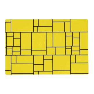 Yellow Cartoon Stone Tile Pattern Laminated Placemat